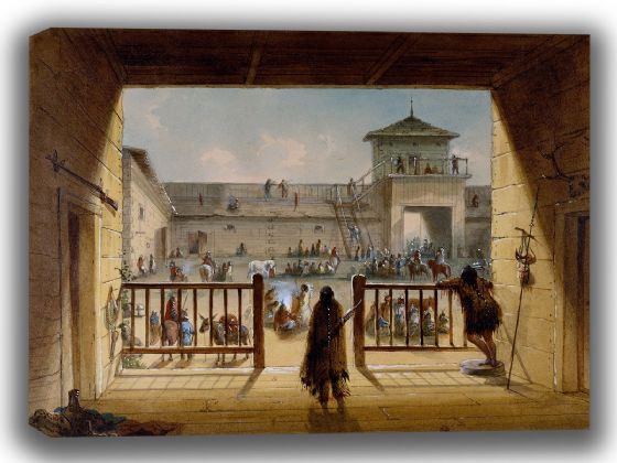 Miller, Alfred Jacob: Interior of Fort Laramie. Fine Art Canvas. Sizes: A4/A3/A2/A1 (003816)